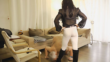House subby humiliated by tranny dom and fucked by man!