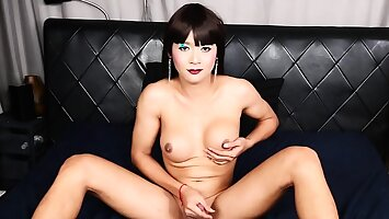Ladyboy handsomeness solo spreading her tight ass