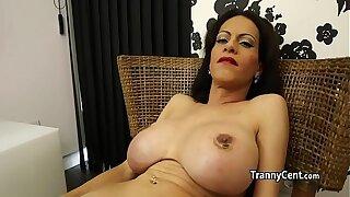 Hairy cock tranny wanking cock solo
