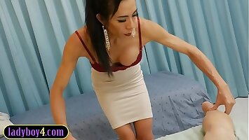 Mature ladyboy massages and fucks guy with her big cock