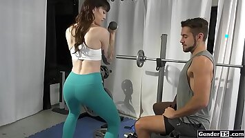 Fit trans Lena Kelly anal by instructor